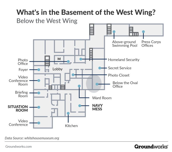 West Wing basement floor plan